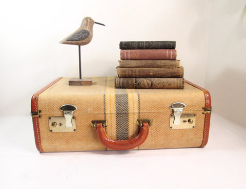 Vintage Striped Tweed Suitcase with Key, Antique Luggage, Vintage Storage Case - GirlPickers