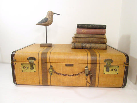 Antique Luggage, Vintage Striped Tweed Suitcase, Lady Baltimore Suitcase - GirlPickers