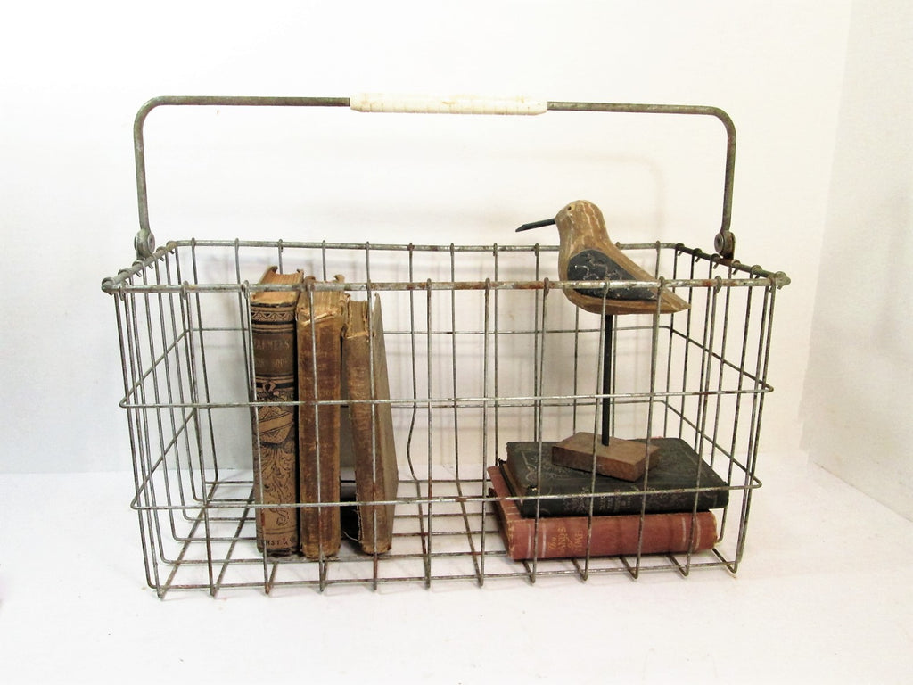 Vintage Wire Basket, Market Basket, Metal Wire Tray, Industrial Storage - GirlPickers