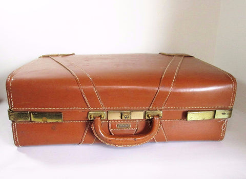 Vintage Leather Suitcase, Towncraft Suitcase. Leather Luggage - GirlPickers