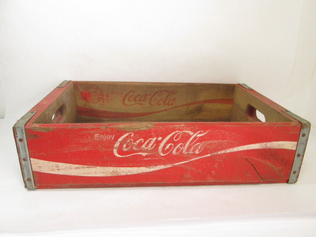 Red Coca Cola Crate, Wooden Coke Box, Industrial Decor, Texas 1970 - GirlPickers
