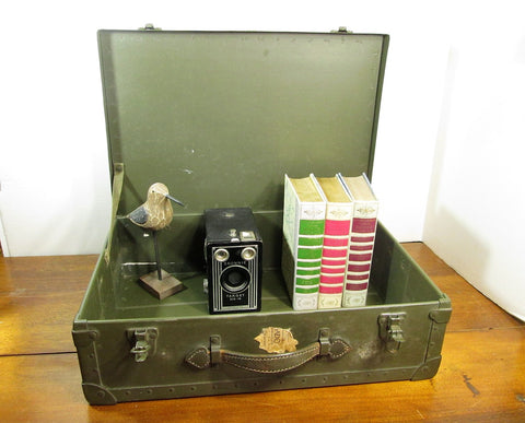 Green Military Suitcase, Army Locker, Air Force Shipping Case - GirlPickers