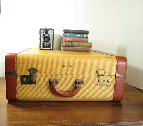 Large Vintage Tweed Suitcase,  Antique Luggage, Wedding Card Case - GirlPickers