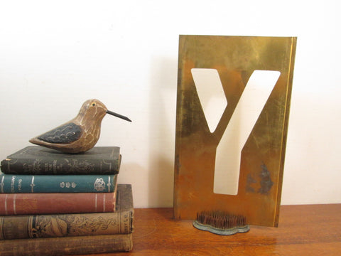 industrial letter brass stencil y 12 inch letter y