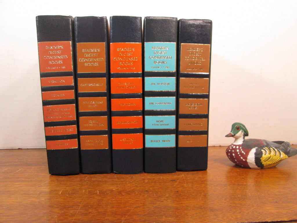 Vintage Book Stack, Matching Book Shelf Decor, Navy and Orange Books - GirlPickers