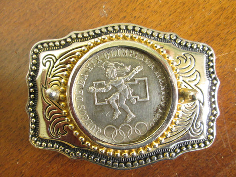 Vintage Belt Buckle with 1968 Mexico Olympic Silver Coin - GirlPickers