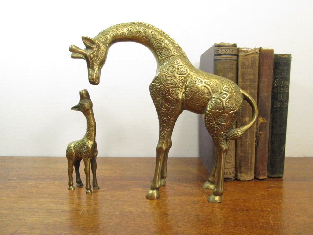 Vintage Brass Giraffe Set, Baby Giraffe, Nursery Decor, Jungalow - GirlPickers