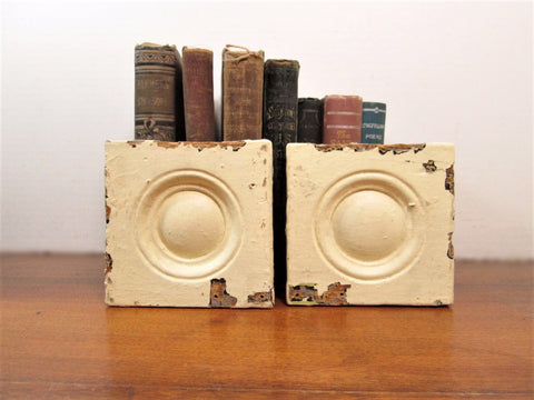 Pair of Yellow Plinth Blocks, Wood Bullseye Plinth, Architectural Salvage