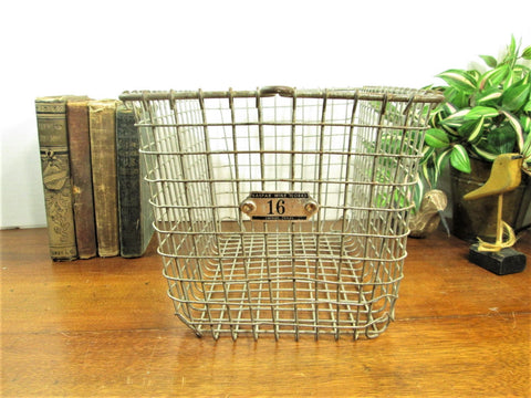 Vintage Locker Basket, Industrial Storage