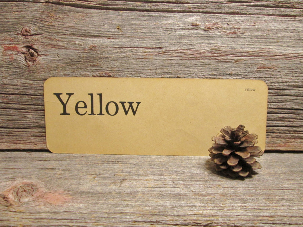 Vintage Flash Card Yellow Two Sided with crease - GirlPickers