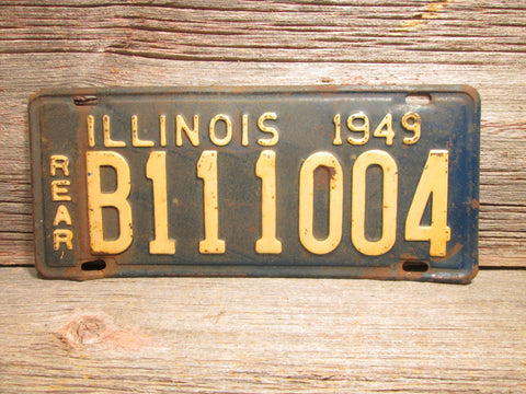 1949 Illinois License Plate Extra Long B111004 Vintage Car Plate Rear - GirlPickers
