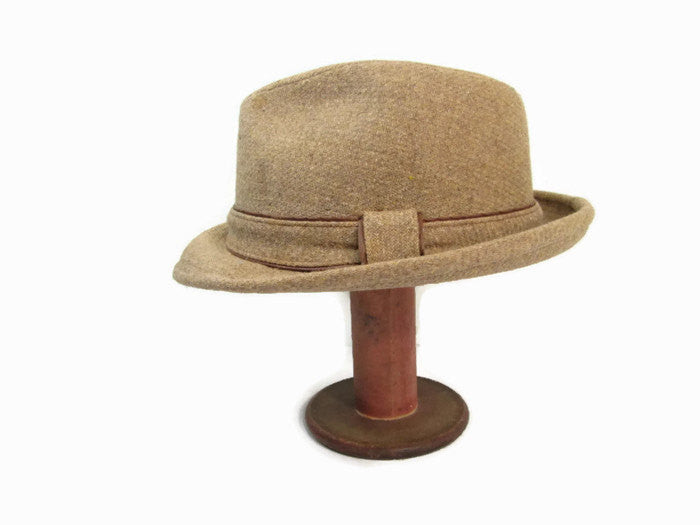 Vintage Stetson Fedora Hat Brown Tweed Rockabilly Hat 7 1/8 - GirlPickers