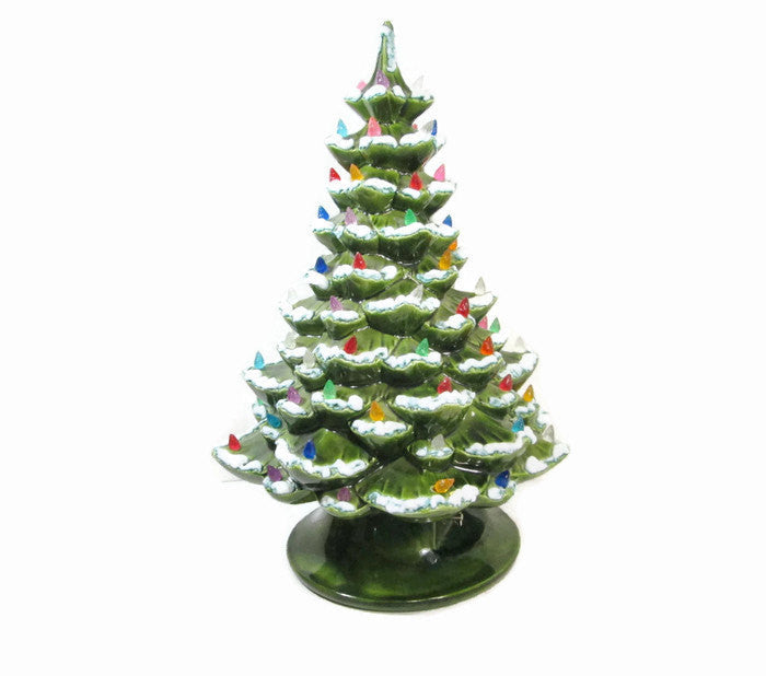 Ceramic Christmas Tree, 19 Inch Musical Tree, Silent Night, Lighted Holiday Decoration - GirlPickers