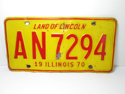 1970 Illinois License Plate Red Yellow AN 7294 - GirlPickers