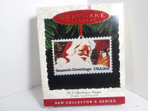 USPS Hallmark Christmas Ornament Metal Postage Stamp Boxed 1993 - GirlPickers