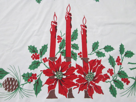 Vintage Tablecloth Christmas Poinsettia Oval with Fringe - GirlPickers