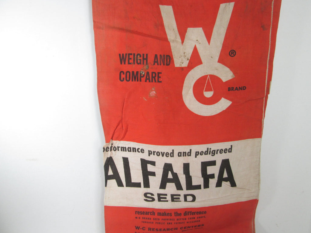 Seed Sack Weigh and Compare Red Seed Bag Alfalfa Chicago Illinois - GirlPickers