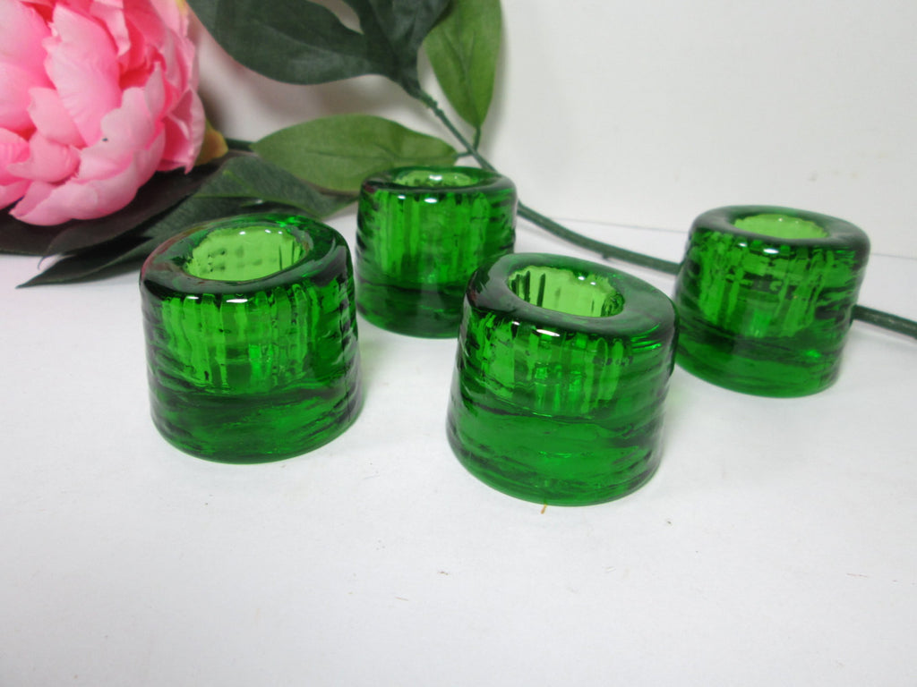 Green Art Glass Candle Holders Nuline Wheaton Glass Set of Four - GirlPickers