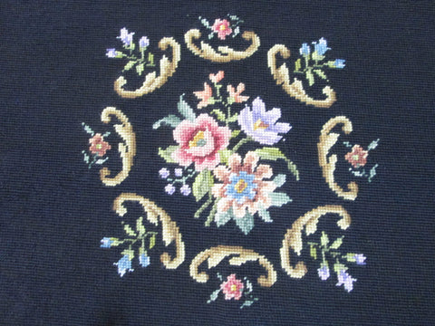 Vintage Needle Point Panel, Black Embroidery, Handmade Tapestry - GirlPickers