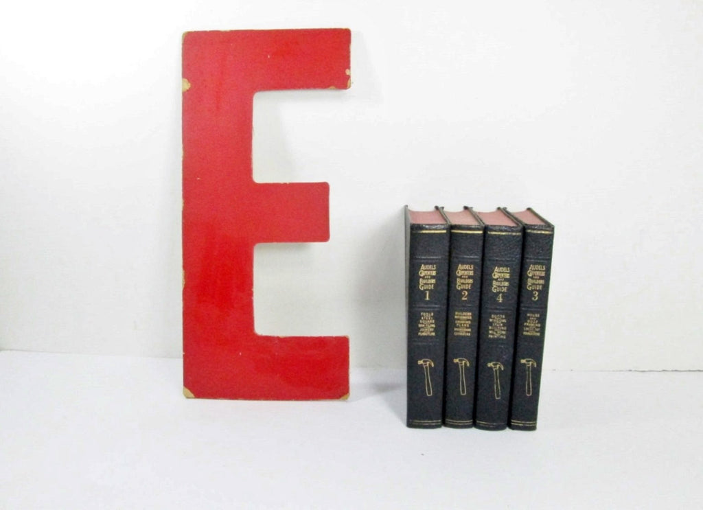 Red Letter E, 13 Inch, Vintage Hard Board Sign Letter E, Other Letters Available - GirlPickers
