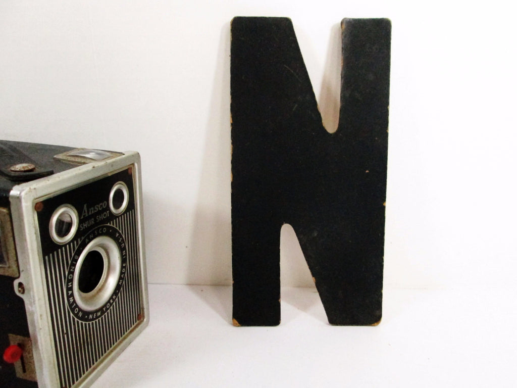 Black Letter N 7 Inch Vintage Hard Board Sign Letter N Other Letters Available - GirlPickers