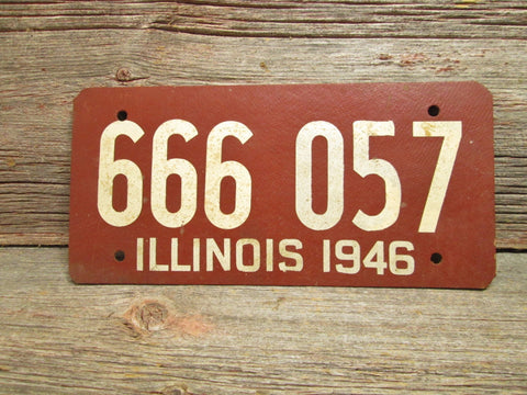 1946 Illinois License Plate Soy Fiber Board  Vintage Car Plate 666 057 - GirlPickers