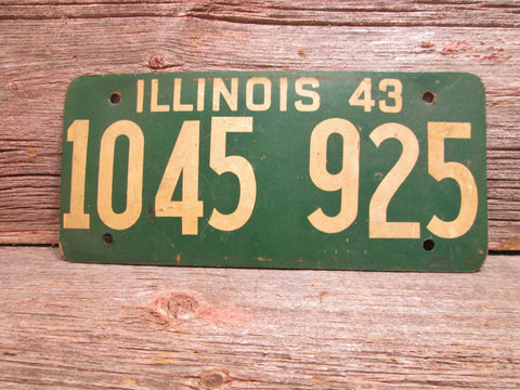 1943 Illinois License Plate Soy Fiber Board  Vintage Car Plate - GirlPickers
