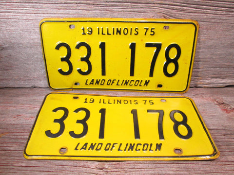 1975 Illinois License Plate 333 178 Set or Single - GirlPickers