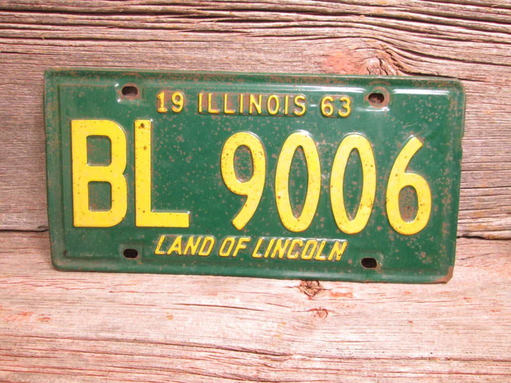 Illinois License Plate Green and Yellow 1963 Green Bay Packers John Deere Green - GirlPickers