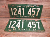 Illinois License Plate 1954 Set or Single Green and White 1241 457 - GirlPickers