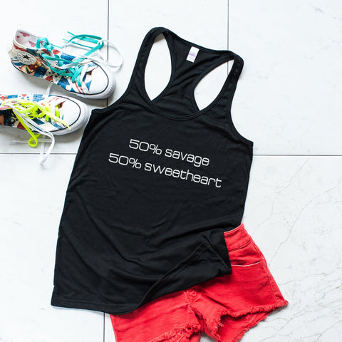 workout tanks for women, '50% Savage 50% Sweetheart' Black Tank Top, Tanks, coffeeovercardio,