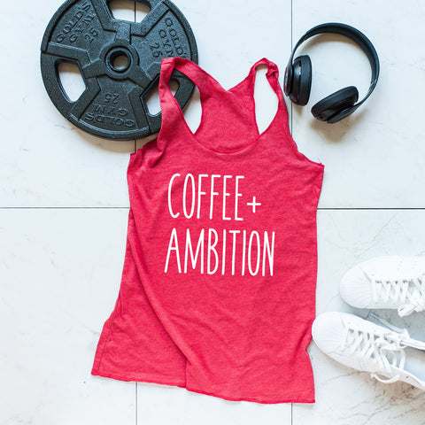 workout tanks for women, 'Coffee+Ambition' Red Tank, Tanks, coffeeovercardio,