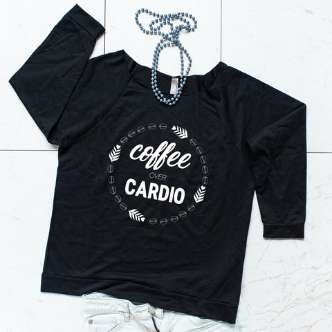 'Coffee Over Cardio' Black Scoop Neck Sweatshirt, Sweatshirts, coffeeovercardio, womens fitted shirt, women's t shirts, womens workout tank, womens gym tank, gym shirts, workout tanks women, fitness tanks women, tops and tees, womens running tanks, womens next level, Coffee mug, coffee cup, coffee shirt, funny coffee mug, funny coffee cup,  unique coffee mug, unique coffee cup, ceramic coffee cup, ceramic coffee mug, personalized coffee, travel coffee cup,