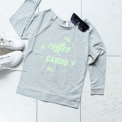 'Coffee Over Cardio' Heather Gray Scoop Neck Sweatshirt, Sweatshirts, coffeeovercardio, womens fitted shirt, women's t shirts, womens workout tank, womens gym tank, gym shirts, workout tanks women, fitness tanks women, tops and tees, womens running tanks, womens next level, Coffee mug, coffee cup, coffee shirt, funny coffee mug, funny coffee cup,  unique coffee mug, unique coffee cup, ceramic coffee cup, ceramic coffee mug, personalized coffee, travel coffee cup,