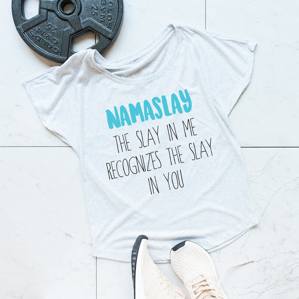 'NAMASLAY' Heather White Scoop Neck Tee, Tee's, coffeeovercardio, coffeeovercardio