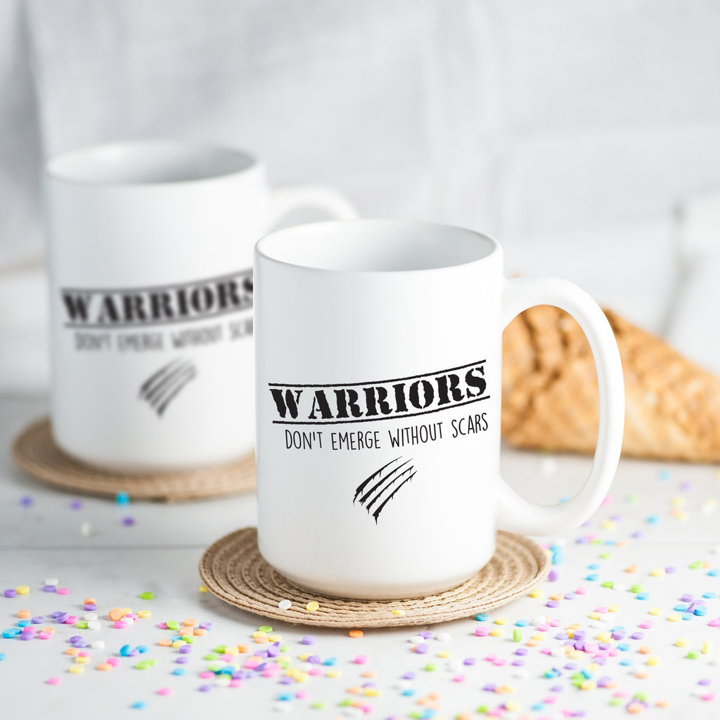 workout tanks for women, 'Warriors Don't Emerge Without Scars' Coffee Mug, Mugs, coffeeovercardio,