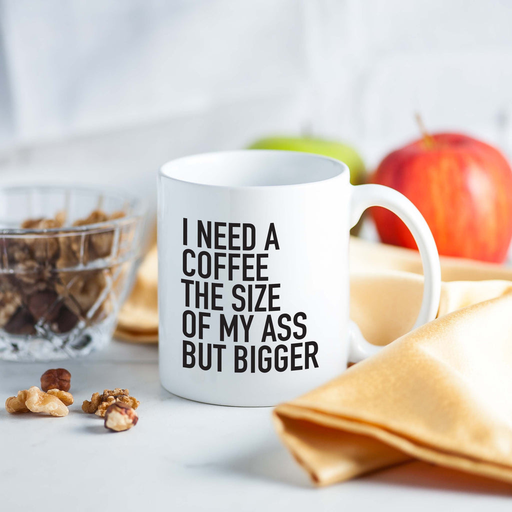 workout tanks for women, 'I Need a Coffee the Size of My Ass but Bigger' Coffee Mug, Mugs, coffeeovercardio,