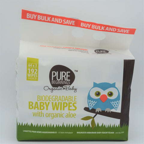 Pure Beginnings - Biodegradable Baby Wipes (192 Wipes)
