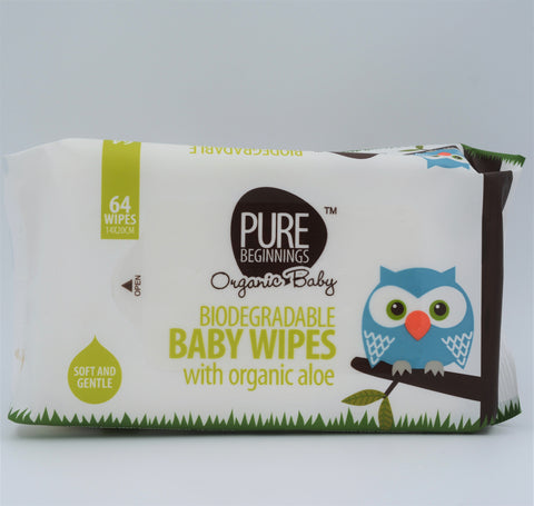 Pure Beginnings - Biodegradable Baby Wipes (64 Wipes)