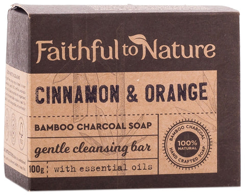 Faithful To Nature - Cinnamon & Orange Charcoal Soap (100g)