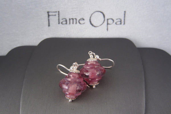 """Spring Pinks"" Glass & 925 Sterling Silver Earrings"