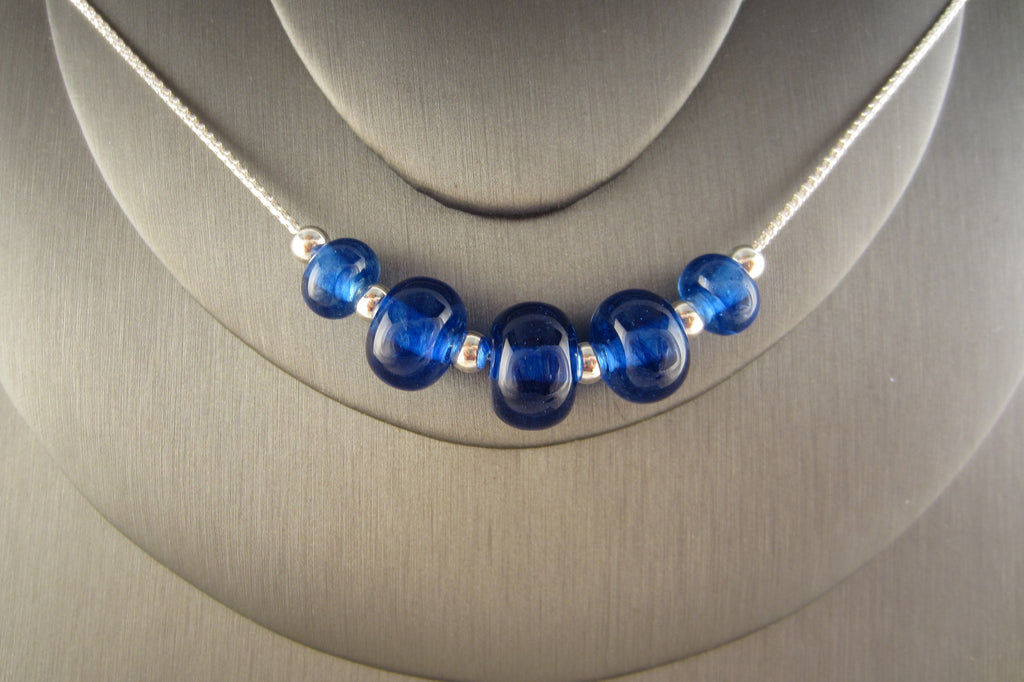 """Blue Wave"" Glass & 925 Sterling Silver Necklace"