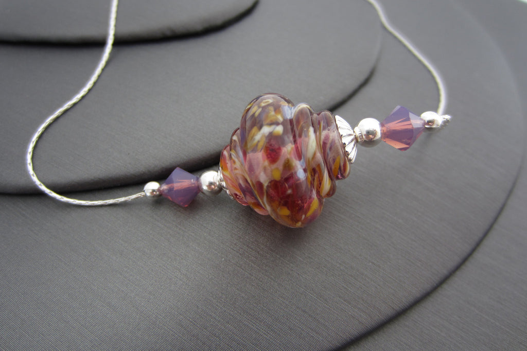 """Summer Fiesta"" Baroque Glass & 925 Sterling Silver Necklace"
