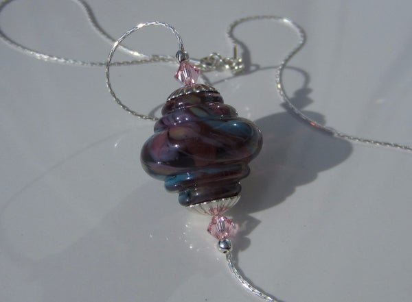 """Pink Party"" Baroque Glass & 925 Sterling Silver Necklace"