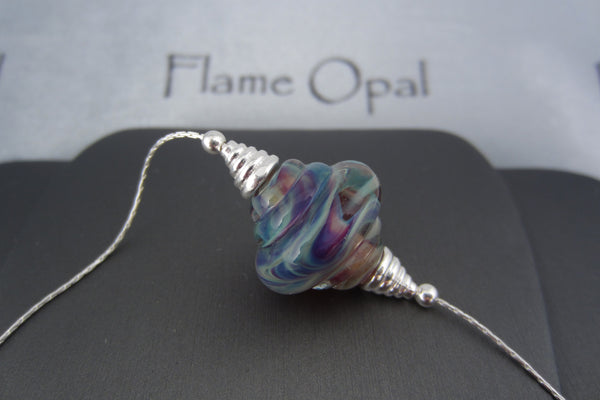 """Rainbow Swirl"" Glass & 925 Sterling Silver Necklace"