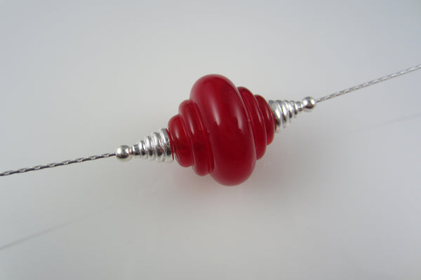 """Rose Red"" Glass & 925 Sterling Silver Necklace"
