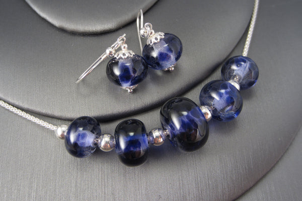 """Patterned Purple"" Glass & 925 Sterling Silver Necklace & Earring Set"