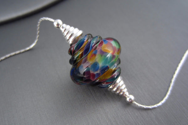 """Rainbow Sherbert"" Glass & 925 Sterling Silver Necklace"