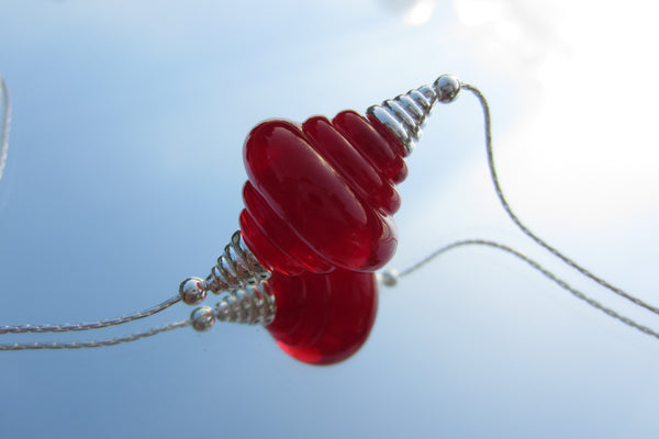 """Radiant Red"" Glass & 925 Sterling Silver Necklace"