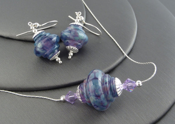 "Flame Opal Glass ""Lilac Blues"" Baroque 925 Silver Set"